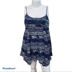 American Eagle blue floral lined sleeveless dress